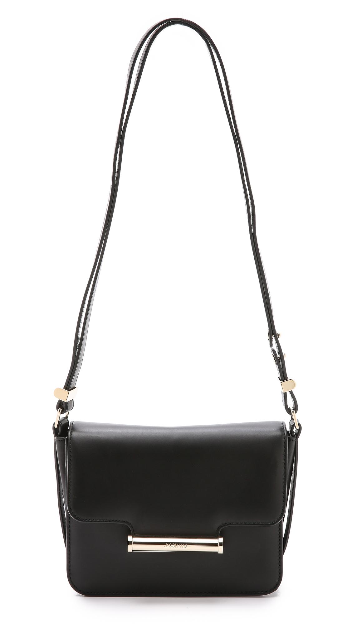 Jason Wu Diane Mini Calf-Hair Crossbody Saddle Bag, Emerald In Black