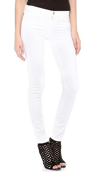 J Brand 811 Mid Rise Skinny Jeans - Blanc