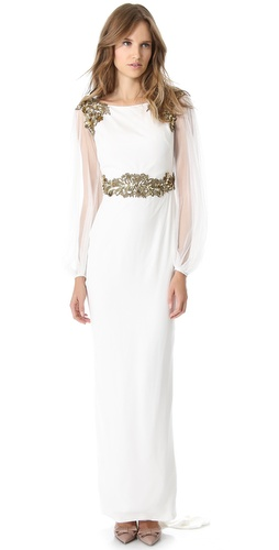 Marchesa Column Gown with Balloon Sleeves