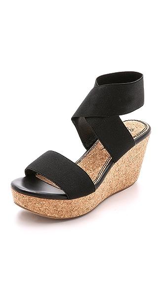 Splendid Geena Elastic Wedge Sandals - Black