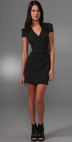 Charlotte Ronson V Neck Pleated Dress