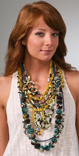 ZUBA Africa Yellow & Indigo Bead Necklace Set, $198 @shopbop.com