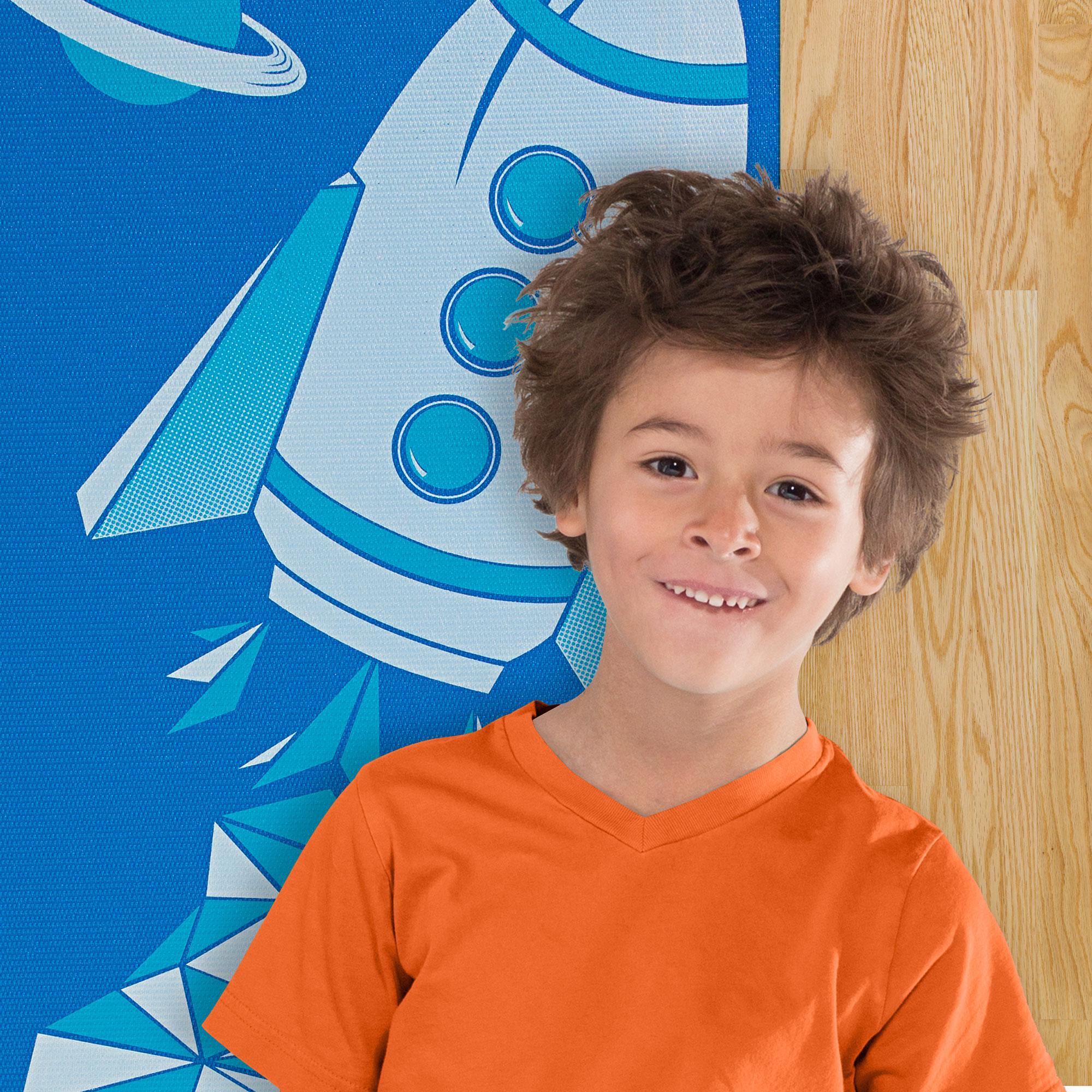 Amazon.com : Gaiam Kids Yoga Mat, Blue Rocket, 3 mm