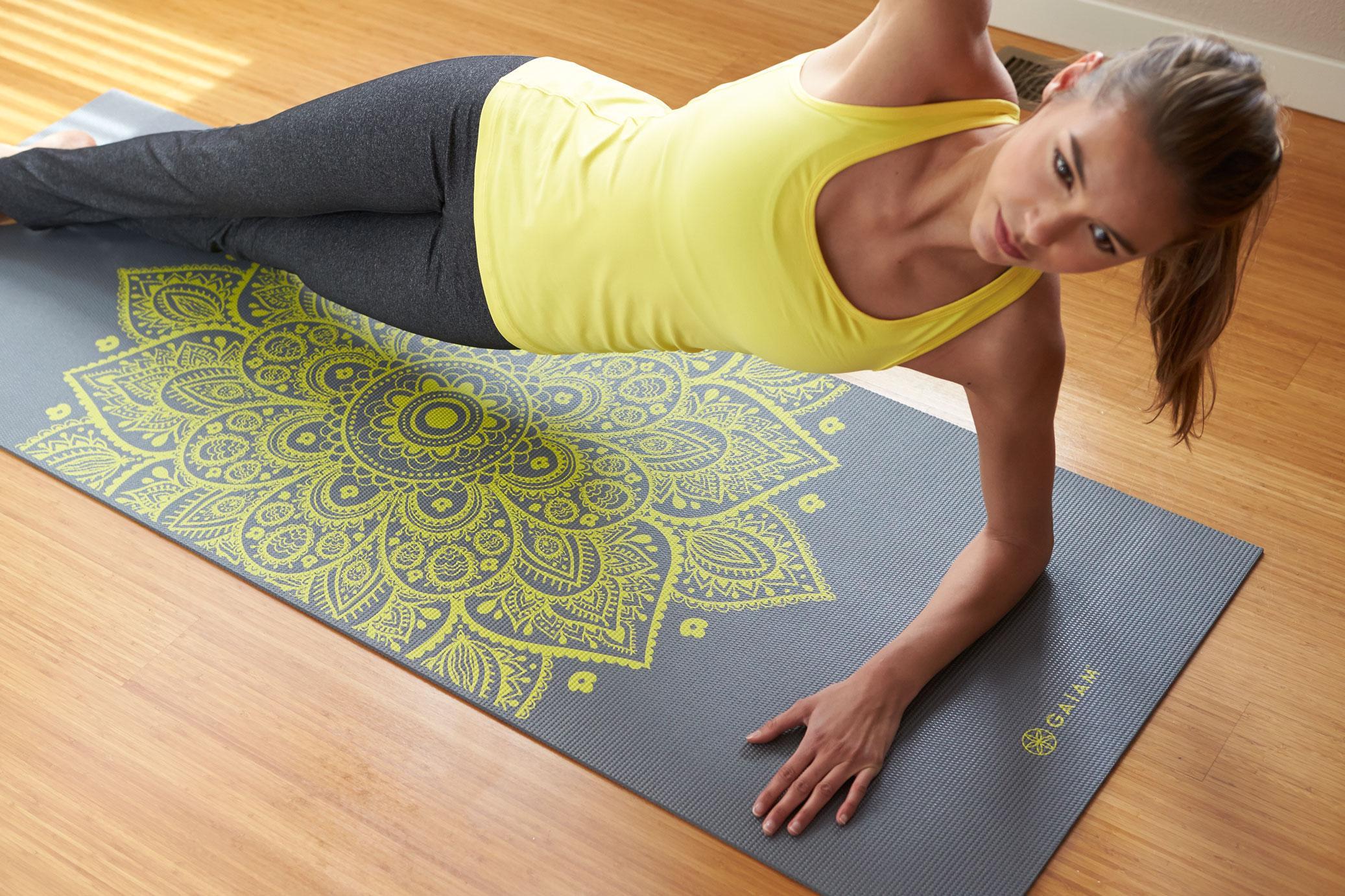 Amazon.com : Gaiam Ash Leaves Print Premium Yoga Mat (5mm