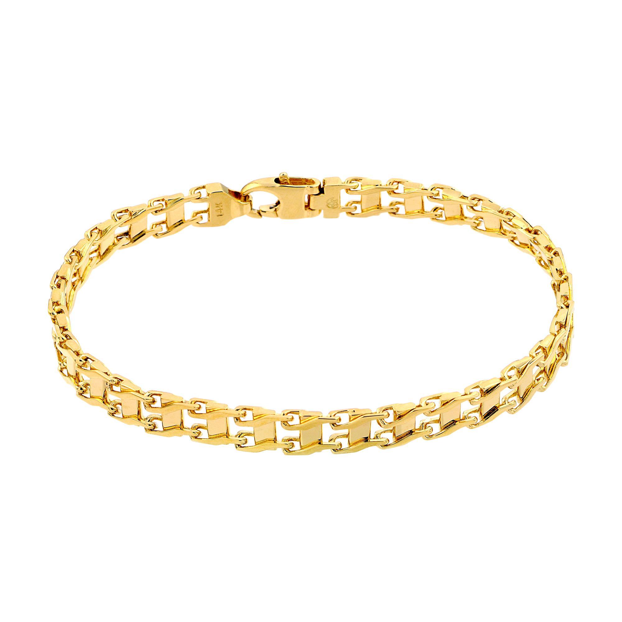 Amazon.com: Men's 14k White Gold Railroad Bracelet, 8.25
