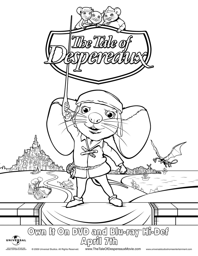 Hippo coloring pages of all kinds amazon ~ The Tale of Despereaux Coloring Page