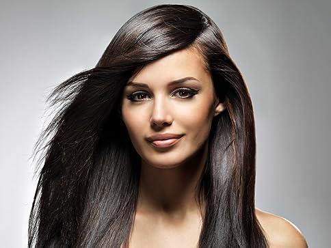 pelo liso castaño