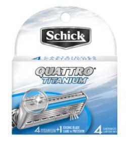 Schick Quattro for Men Refill Cartridges, Titanium Coated Blades, 4 Cartridges (2-Pack) Product Shot