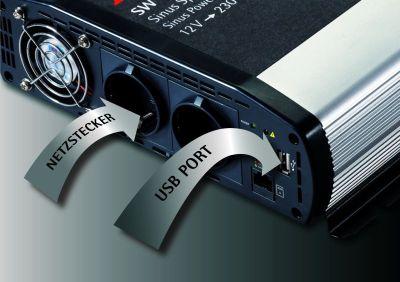 AEG 97121 Sinus-Spannungswandler SW 1000 Watt, 12 Volt auf 230 Volt, mit LCD-Display, USB Ladebuchse, Fernsteuerungsmodul und Batteriewächterfunktion - Zusatzbild