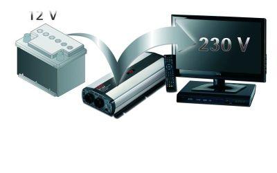 AEG 97121 Sinus-Spannungswandler SW 1000 Watt, 12 Volt auf 230 Volt, mit LCD-Display, USB Ladebuchse, Fernsteuerungsmodul und Batteriewächterfunktion - Weitere Features